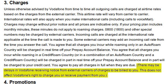 An excerpt from vodafone roaming terms and conditions